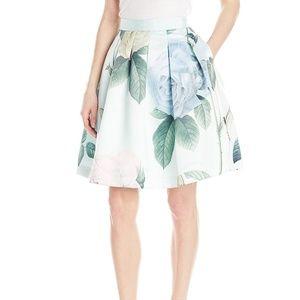 Ted Baker Pleated Distinguishing Rose Skirt NWOT